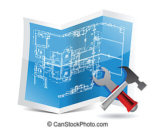 blueprint and tools illustration trifold design over white