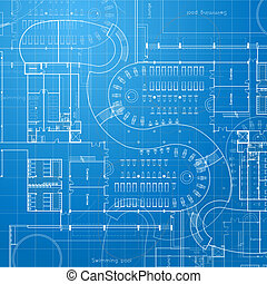blueprint., architecturaal, achtergrond