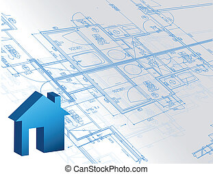 Blueprint architectural map and 3d house model