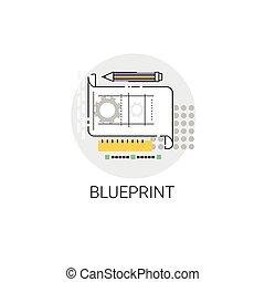 Blueprint Architecture Design Development Icon