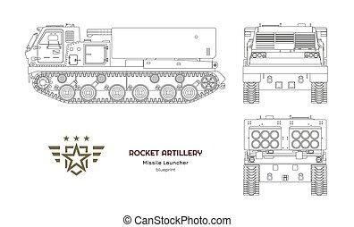 blueprint, artillery., tanque, esboço, foguete, costas, camuflagem, míssil, jato, trator, vehicle., frente, militar, vista., weapon., desenho, lado