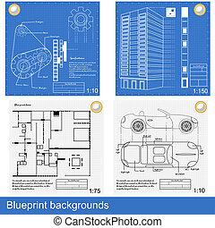 blueprint backgrounds - Four different blueprints: gears, a...