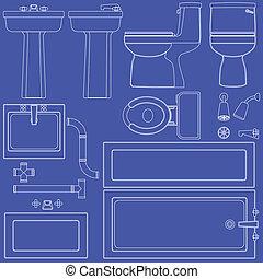 blueprint, banheiro, instalações