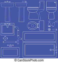 Blueprint bathroom fixtures - Collection of bathroom...