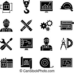 Blueprint Black White Flat Icons Set