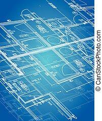 blueprint blueprint illustration design over a blue...