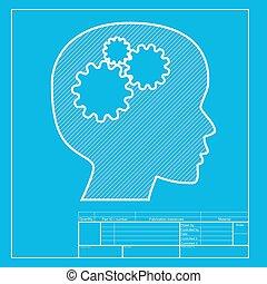 blueprint, cabeça, pensando, sinal., seção, branca, template., ícone
