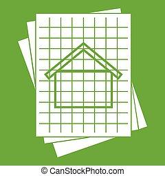 blueprint, casa, verde, ícone