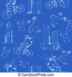 Blueprint city seamless pattern