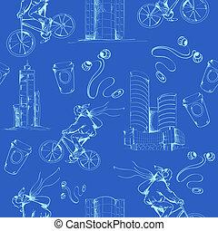 Blueprint city seamless pattern