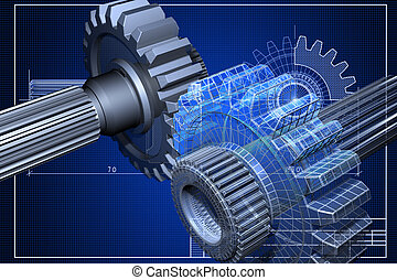 Blueprint - Close-up of blueprint with cogwheel