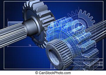 Close-up of blueprint with cogwheel