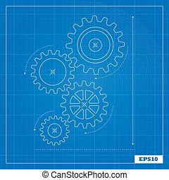 blueprint, cogs, engrenagens