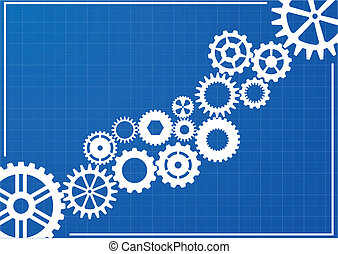 blueprint, cogwheels