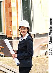 blueprint, construção, arquiteta, local
