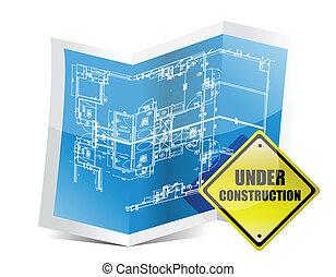 blueprint, construção, sob