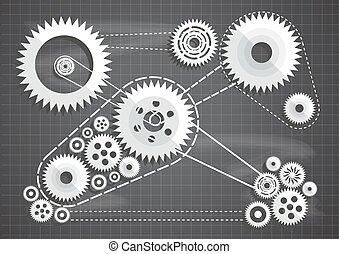 blueprint, corte, cogs, ilustração, papel, vetorial, engrenagens, chalkboard