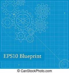 blueprint, desenhado, engrenagens