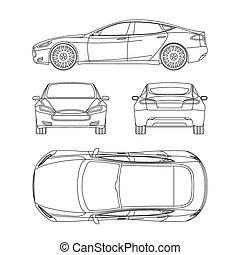 blueprint, desenhar, forma, car, dano, linha, tudo, costas, quatro, aluguel, relatório, seguro, vista, topo, condição, lado