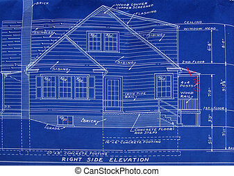blueprint, direita, lado, detalhe