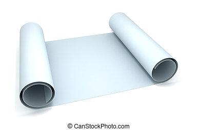 Blueprint - 3D rendering of a blueprint paper roll