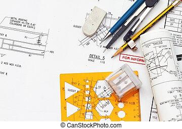 blueprint, e, engenharia, ferramentas