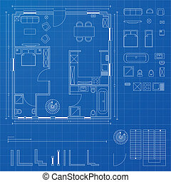 detailed illustration of a blueprint floorplan with various design elements