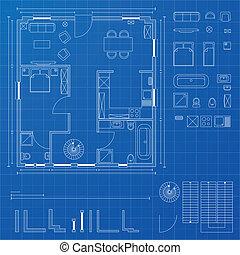 blueprint elements - detailed illustration of a blueprint...