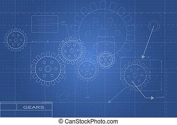 blueprint, engrenagem, ilustração