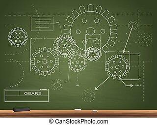 blueprint, engrenagens, ilustração