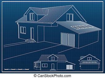 Blueprint - House blueprint vector background