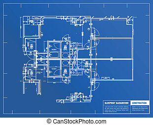 Blueprint - Sample of architectural blueprints over a blue...
