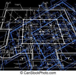 blueprint, escuro, abstratos, vetorial, experiência.