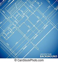 blueprint, estrutura edifício