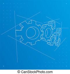 blueprint, experiência., engrenagens, vector.