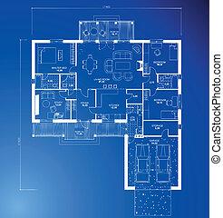 blueprint, experiência., vetorial, arquitetônico