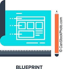 Responsive web technology blueprint cloud illustration vectors blueprint flat concept malvernweather Choice Image