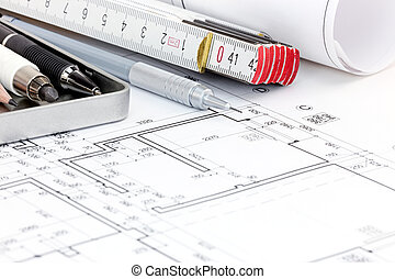blueprint floor plans of modern apartment with drawing tools