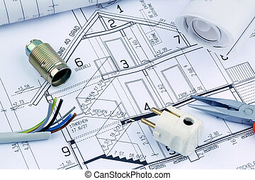 blueprint for a house. electrical - an architect's blueprint...