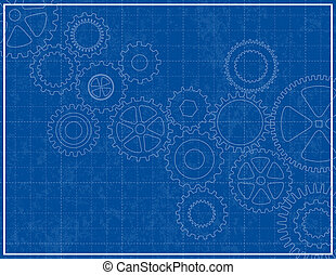 blueprint, fundo, com, cogs