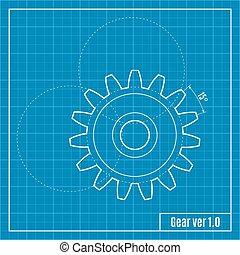 blueprint, gear., vetorial, illustration.