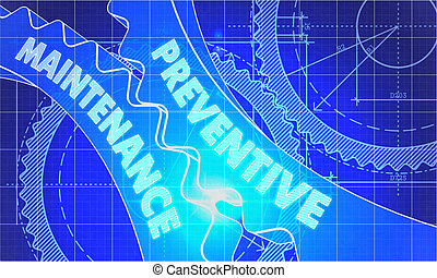 blueprint, gears., concept., preventivo, manutenção