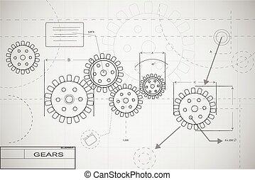 Blueprint gears illustration on a blue background blueprint gears illustration malvernweather Images