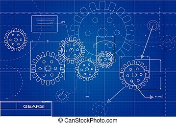 Blueprint gears illustration
