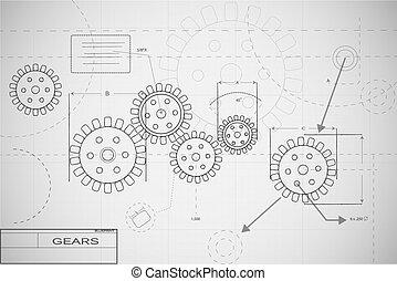Business intelligence on the gears blueprint style stock blueprint gears illustration malvernweather Images