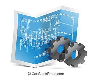 blueprint, gráfico, engrenagens