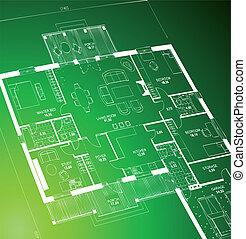 Blueprint green. Vector - Vector of a blueprint plan...