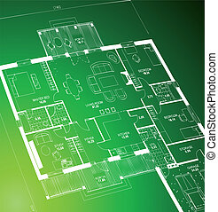Blueprint green. Vector - Vector of a blueprint plan...