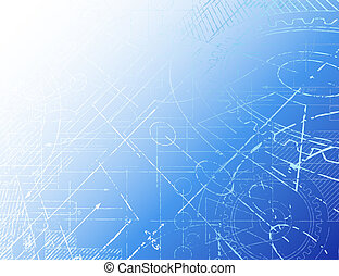 Grungy technical blueprint illustration on blue background