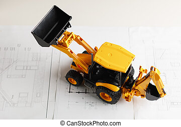blueprint, habitação, brinquedo, trator, construção